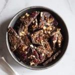 Vegan Dark Chocolate Granola Bark Recipe with Sprouted Granola (gluten-free)