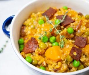 Butternut Squash and Vegan Bacon Ris-OAT-O