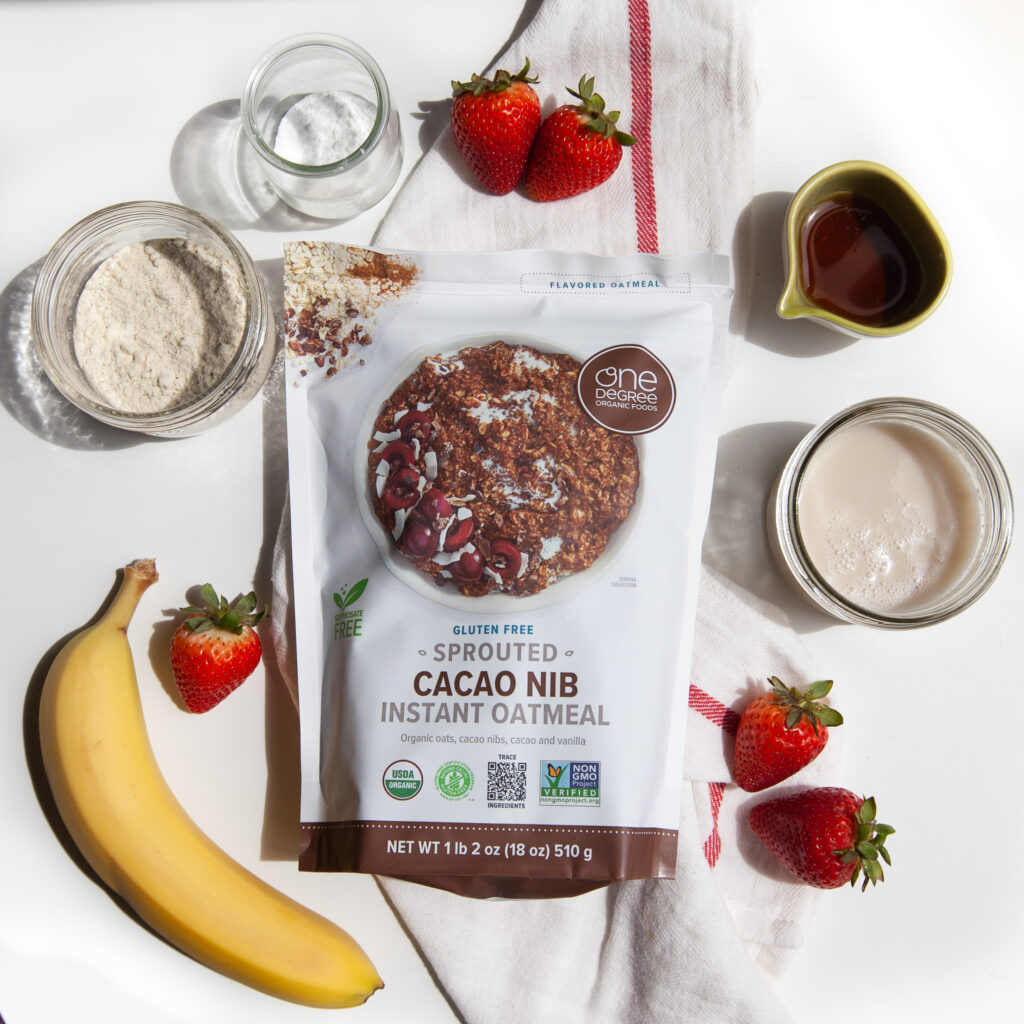 Gluten-free Instant Oatmeal Mug Cake Recipe with One Degree Organics Sprouted Cacao Nib Instant Oatmeal