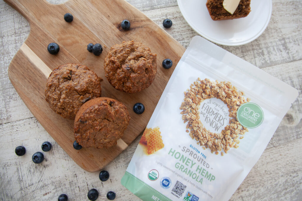 Healthy Vegan Whole Grain Breakfast Muffins made with Sprouted Rolled Oats & Granola